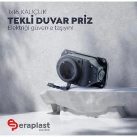 Eraplast Pro Serisi 1X16A Kauçuk Tekli Duvar Prizi (Dişi)